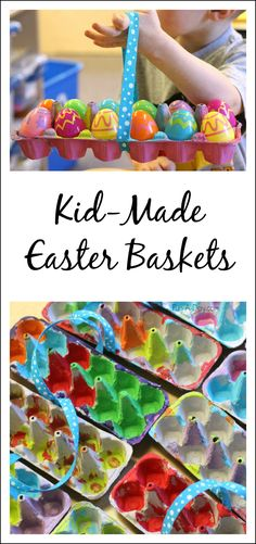 Homemade Easter baskets kids can make. Perfect for egg hunts, pretend play, and teaching kids to count up to 12!