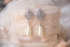 Ivory Teardrop Pearl Earrings, Bridal Earrings, Vintage Style Wedding Earrings, Rhinestone Earrings, Bridal Jewelry