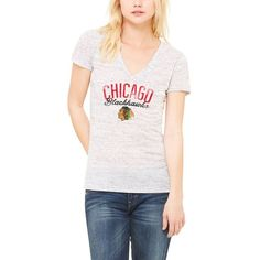 Chicago Blackhawks Let Loose by RNL Women's Endless T-Shirt - White Marble