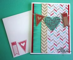 Stampin' Up! Chickstamper--Happy Valentine's Day card!! I used the Fringe Scissors, Language of Love Stamp Set, Fresh Prints Paper Stack and Natural Chevron Ribbon. Click on picture for more ideas :)
