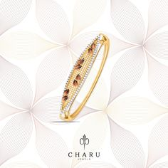 Jewelry galore is happening and this beautiful Seria Shine gold and diamond studded gold bracelet for her goes with everything from fusion to ethnic styles. Diamond Bracelets, Jewelry Bracelets, Bangles, Gold Jewelry, Women Jewelry, Jewellery, Ethnic Fashion, Diamond Studs, Bracelet Designs