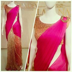 Beautiful Modern styled sari in hot pink n glittering gold..
