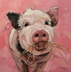 """Schwein, Malerei, Original impressionistischen Gemälde des eine süße kleine Schweinchen scharrt auf Heu.  6 x 6"""" am Panel, Schwein-Artwork, Schweine"""