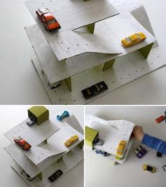 How to make a cardboard parking garage - diy kids