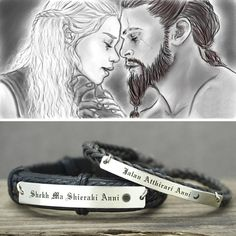 ef8fd6139 Game of Thrones Bracelets- Dothraki, Moon of My Life- My Sun and Stars, Matching  Couple Leather Cuff