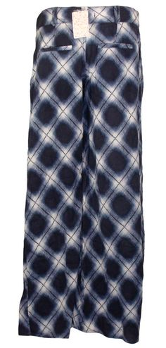 NEW Free People Womens Pants BIAS Extreme Flare Wide Leg Plaid Blue Sz 6 $148 #FreePeople #CasualPants