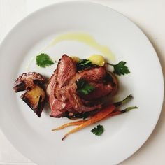 Autumn filet de canard with Cepes and early fall vegetables from the market