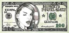 Lana Del Rey Money Power Glory American 100 Dollar bill watercolour print available in my Etsy Shop! --> https://www.etsy.com/listing/217839411/lana-del-rey-money-power-glory-american?ref=related-1