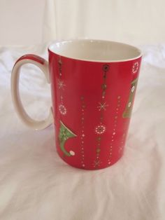Starbucks 2006 Holiday Gold Stocking Red Coffee Mug 14 oz Christmas  Snowflakes #Starbucks Christmas Snowflakes