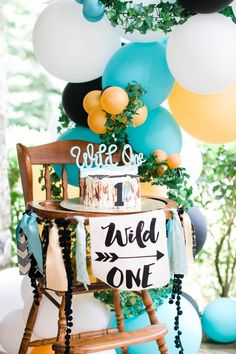 Birthday parties are indeed very closely related to the decorations that you will create to support the success of the event. So that a birthday party. Boys First Birthday Party Ideas, One Year Birthday, Wild One Birthday Party, Birthday Themes For Boys, Baby Boy First Birthday, Boy Birthday Parties, Birthday Party Decorations, Kids Party Themes, Birthday Images