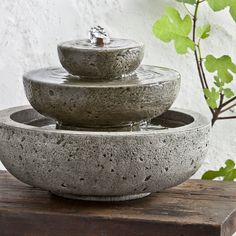 """Campania Cast Stone Platia Garden Terrace Fountain. Only 15.25"""" w x 9.75"""" h, but I keep coming back to this fountain. I can imagine watching the water slip over the edge to the next level. Other colors are available."""