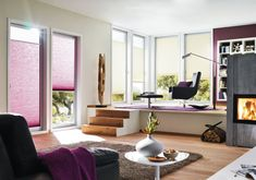 Duette energy saving blinds in purple. Cosy homes. Pantone colour of the year Contemporary purple home decor inspiration. Living Room Blinds, House Blinds, Vertical Window Blinds, Blinds For Windows, Vinyl Mini Blinds, Autumn Interior, Purple Home Decor, Purple Rooms, Hygge Home