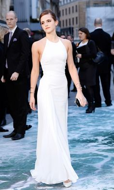 Happy birthday, Emma Watson! // wearing a sleek, minimal white gown