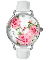 Betsey Johnson Women's White Leather Strap Watch 44mm BJ00207-07