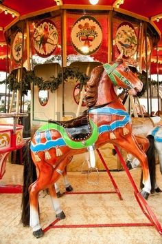 Antique carousel at Christmas market on Dusseldorf town square