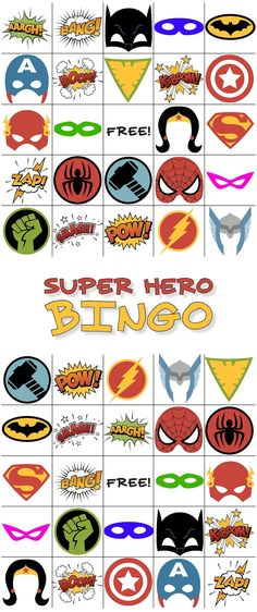 Free Printable Superhero Bingo! Download and print for birthday parties or just for fun!