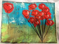 Art journal mixed media --- like how the hearts are colored