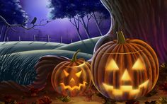 2 Jack-o-lantern Wallpaper - Halloween Art illustration