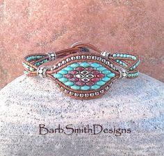 Türkis Silber ein Ledergriffband Perlen von BarbSmithDesigns