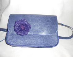 Leather bag tote bag handbag with rose with a flower от Larasmagic, $150.00