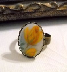 Vintage Glass Yellow Rose Cabochon Ring with by lucindascharms, $16.00