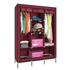 Buy generic portable wardrobe anti dust moisture proof non woven foldable clothes storage cabinet shelf closet with hanging track @ best price online Wood Display, Display Design, Portable Wardrobe, Wardrobe Sale, Closet Shelves, Online Shopping Shoes, Garage Design, Cool Beds, Rustic Interiors