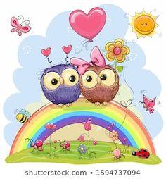 Rainbow Cartoon, Owl Cartoon, Cute Cartoon Animals, Cute Images, Cute Pictures, Cute Animal Clipart, Owl Clip Art, Scrapbook Cover, Paper Owls