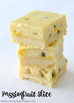 Dessert Recipes 21406 If you are looking for the perfect summer slice, then you just can't go past this easy Passionfruit Slice recipe. This sweet treat never lasts long in our house thanks to it's deliciously creamy and tangy filling and crisp base. Passionfruit Slice, Passionfruit Recipes, Baking Recipes, Cake Recipes, Dessert Recipes, Tray Bake Recipes, Jello Desserts, Lunch Box Recipes, Sweets