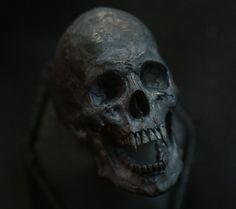 Skull ring Vampire open jaw silver mens skull biker by Bakogiorgis