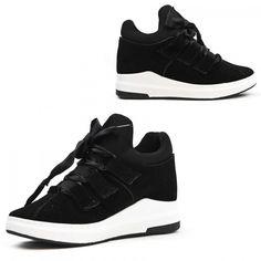Dames Zwarte Faux Suede Sneakers