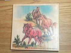 "Arizona Stamps Too! Wood Mounted Rubber Stamp ""Wild Stallions"" Horses #1-09"