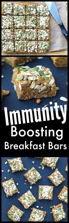 These healthy breakfast bars are full of nutrients that are known to boost your immune system! Let food be your medicine and fight the sickness before it hits. They are gluten-free, vegan, and totally delicious! Breakfast Bars Healthy, Healthy Bars, Healthy Treats, Healthy Recipes, Sick Recipes, Healthy Breakfasts, Healthy Eating, Brunch Recipes, Breakfast Recipes