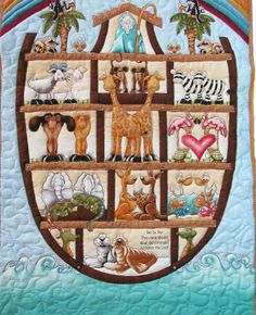 Noah's Ark Quilt Two by Two Baby Quilt by PictureThisKathiLeal