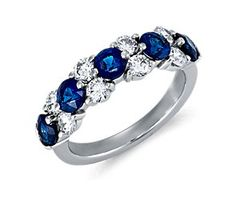 Classic Sapphire and Diamond Garland Ring in Platinum (7/8 ct. tw.)