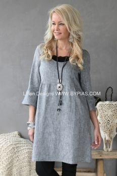 TINA Linen Dress, DENIM GREY