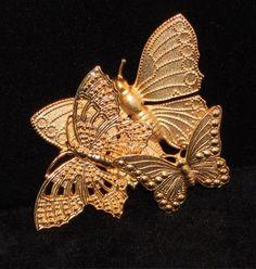 SALE Vintage Triple Butterfly Brooch Pin by VintageMaryEllen, $12.25