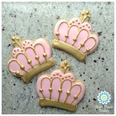 sugar cookies, pink and gold crowns