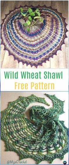 Crochet Wild Wheat Shawl Free Pattern - Crochet Women Shawl Sweater Outwear Free Patterns