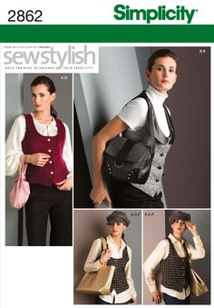 Womens Lined Vest, Hat, Purse Sewing Pattern 2862 Simplicity