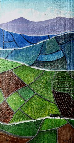 Valeriane Love this geometric planar rep of rolling hills! Landscape Art Quilts, Abstract Landscape, Landscape Paintings, Abstract Art, Map Quilt, Art Populaire, Art Textile, Naive Art, Art Abstrait