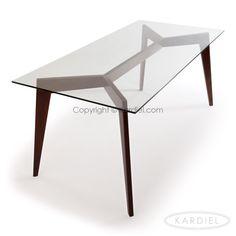 Deco Blaze Mid-Century Modern Dining Table, Walnut Legs/Glass Top |