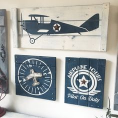 This Is A Set Of Three Vintage Airplane Art Pieces Plane Comp And Pilot On Duty Sign Each With Dimensional Rustic Touch Jute