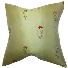 Daithi Green Floral 18-inch Down Filled Throw Pillow
