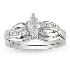 Miadora 14k White Gold 1/2ct TDW Diamond Bridal Ring Set (G-H, I1-I2)