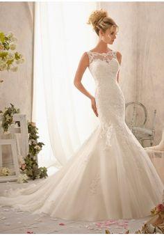 Tulle Scoop Neckline Mermaid Elegant Wedding Dress - Bride - WHITEAZALEA.com