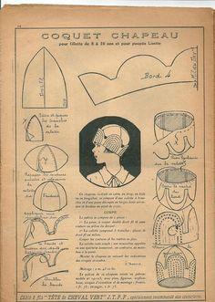numérisation0036 Diy Vintage, Looks Vintage, Vintage Crafts, Vintage Sewing Patterns, Clothing Patterns, Hat Patterns, Turban Hut, 1920s Hats, Hat Tutorial