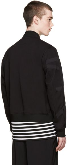 Wooyoungmi - Black Jersey Tape Bomber Jacket
