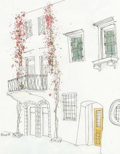 Alzado de una casa con toques de color...