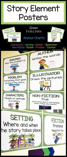 Anchor Charts | Story Element Posters | Kindergarten | First Grade | Characters, Setting, Author, Illustrator, Non-Fiction, Fiction, Problem, Solution | Classroom Décor | Focus Wall