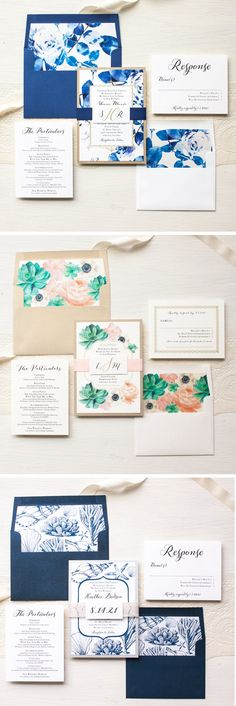 BLUSH SUCCULENT   Blush Succulent wedding invitations with romantic script fonts, a personalized monogram tag and peony and anemone watercolor florals. So charming and sweet! Each bundle is layered with metallic gold, soft blush peach and ivory. Complete each invite bundle with a set of hand crafted floral envelope liners and digital calligraphy guest envelope printing. This is a real time saver and completes the overall look! *The last photo shows additional boho inspired designs available…